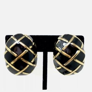 Vtg St. John Earrings Black Enamel Gold Hoops